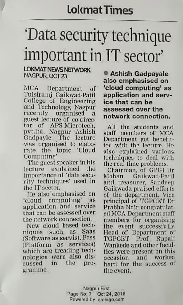 Guest Lecture on Cloud Computing By Ashish Gadpayle